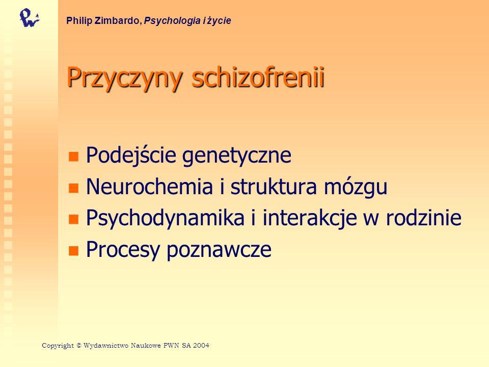 Przyczyny schizofrenii Podejście genetyczne Neurochemia i struktura mózgu Psychodynamika i interakcje w rodzinie Procesy poznawcze Philip Zimbardo, Ps