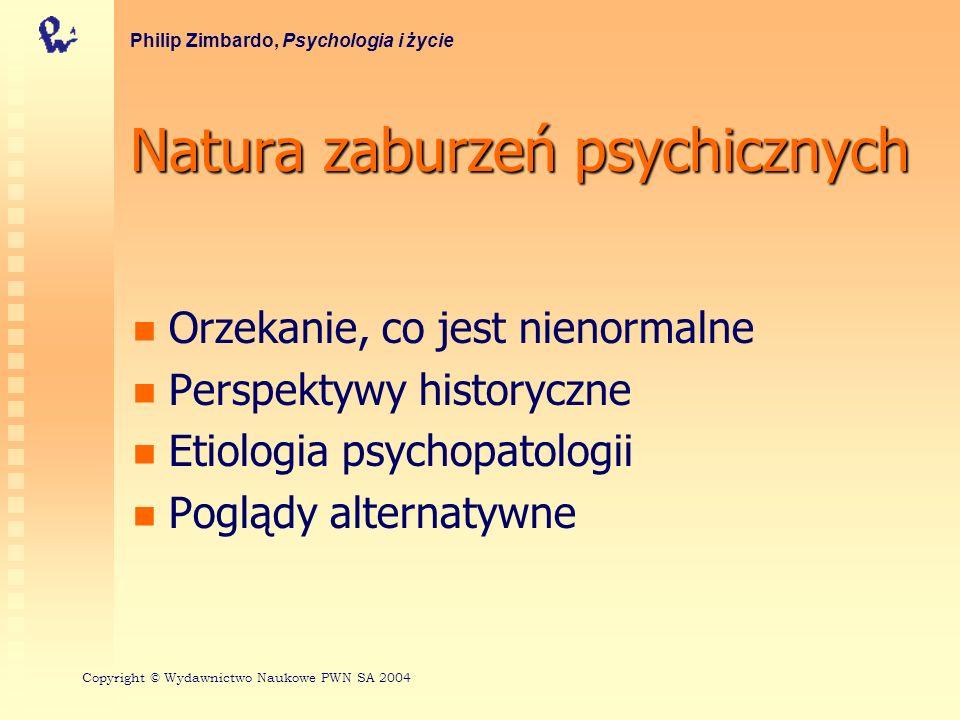 Główne typy zaburzeń psychicznych Zaburzenia osobowości Zaburzenia dysocjacyjne Zaburzenia lękowe Zaburzenia afektywne Różnice między płciami w depresji; depresja a samobójstwo Philip Zimbardo, Psychologia i życie Copyright © Wydawnictwo Naukowe PWN SA 2004