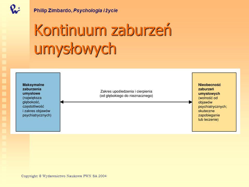 Zaburzenia lękowe: typy Lęk bezprzedmiotowy Paniczny lęk Fobie Zaburzenie obsesyjno - kompulsywne Philip Zimbardo, Psychologia i życie Copyright © Wydawnictwo Naukowe PWN SA 2004