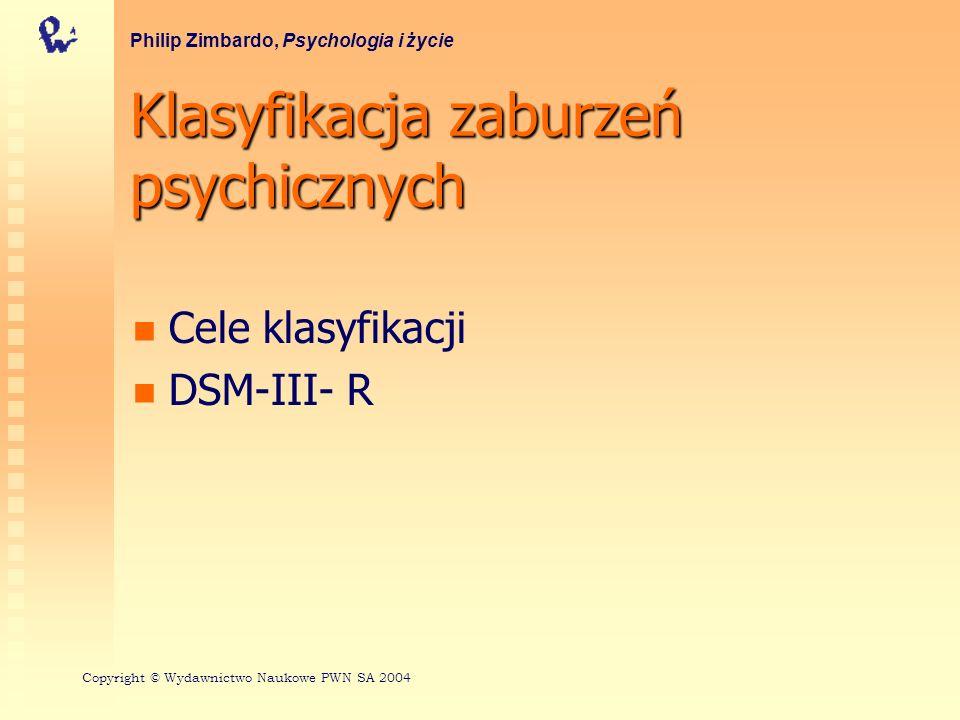 5 osi DSM-III-R - Oś I - syndromy kliniczne Te zaburzenia umysłowe obejmują objawy, wzorce zachowania lub problemy psychiczne, które są zazwyczaj źródłem cierpienia lub upośledzają jakiś obszar funkcjonowania (np.