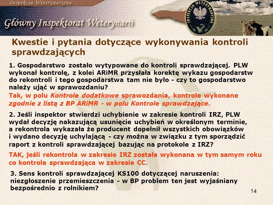 14 Kwestie i pytania dotyczące wykonywania kontroli sprawdzających 1. Gospodarstwo zostało wytypowane do kontroli sprawdzającej. PLW wykonał kontrolę,