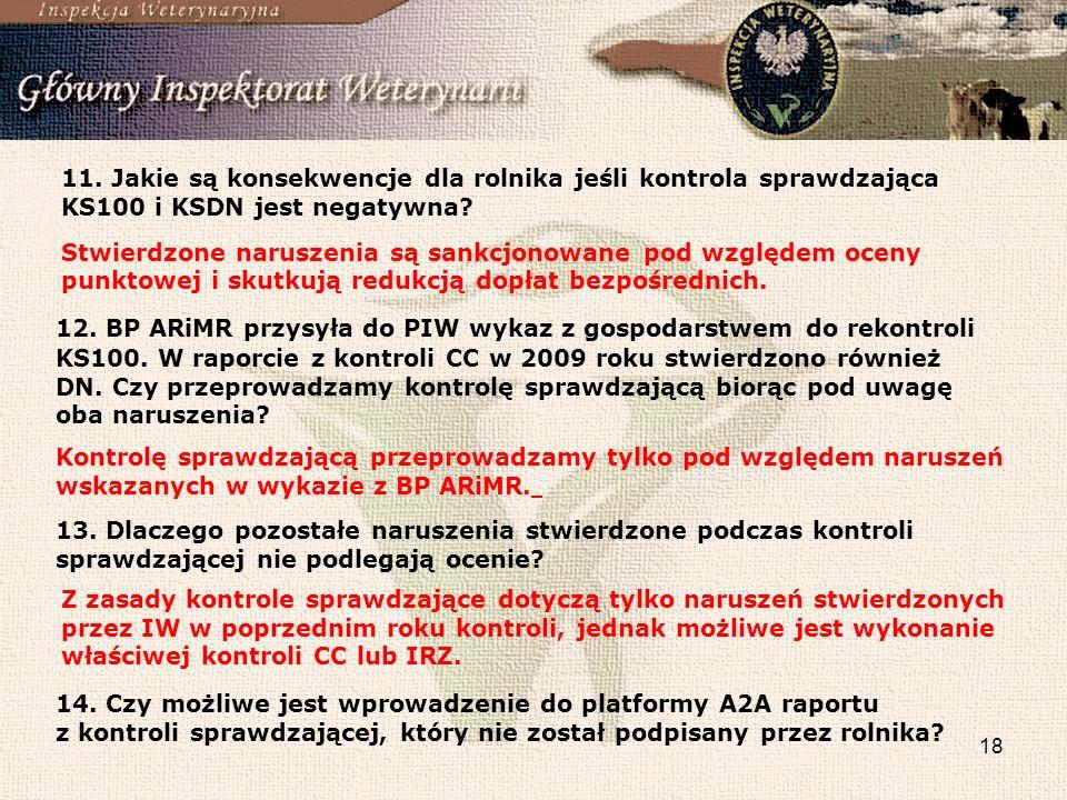 18 11.Jakie są konsekwencje dla rolnika jeśli kontrola sprawdzająca KS100 i KSDN jest negatywna.