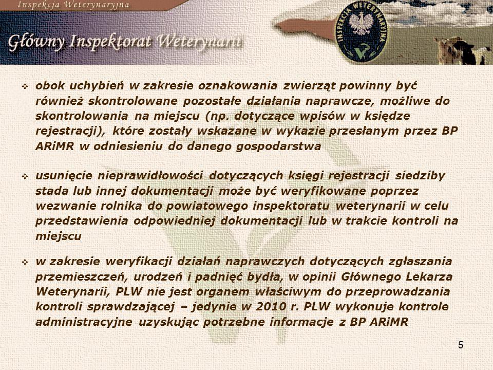 5 usunięcie nieprawidłowości dotyczących księgi rejestracji siedziby stada lub innej dokumentacji może być weryfikowane poprzez wezwanie rolnika do po