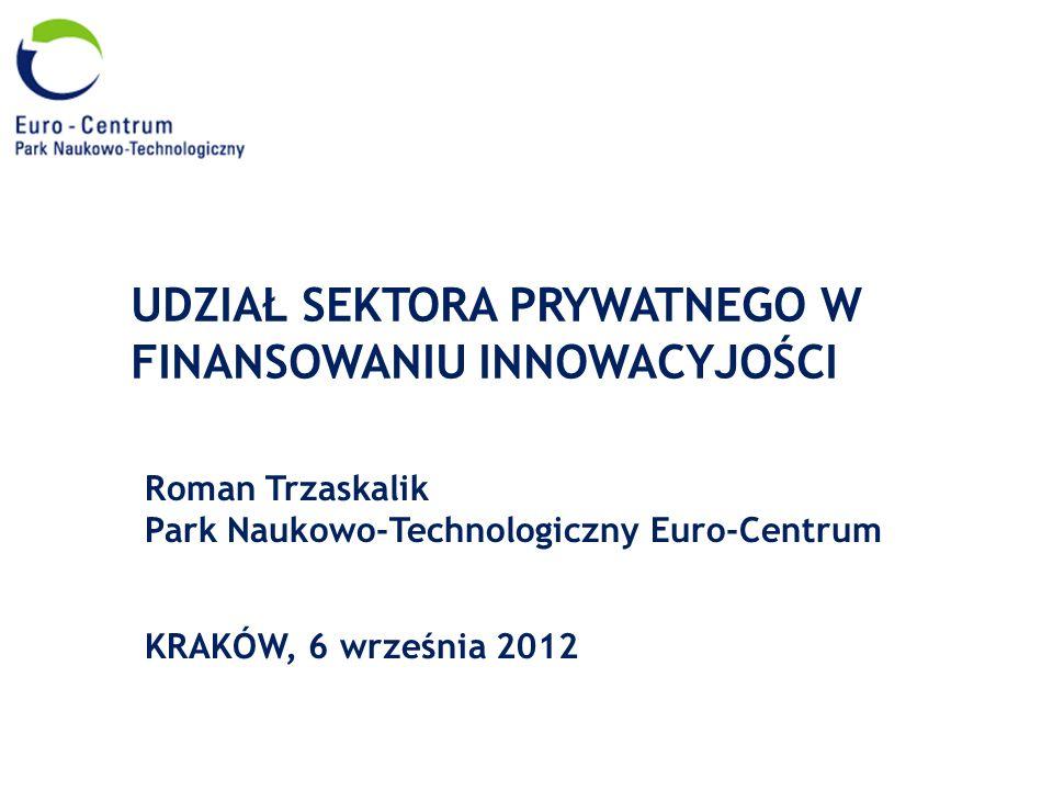 UDZIAŁ SEKTORA PRYWATNEGO W FINANSOWANIU INNOWACYJOŚCI Roman Trzaskalik Park Naukowo-Technologiczny Euro-Centrum KRAKÓW, 6 września 2012