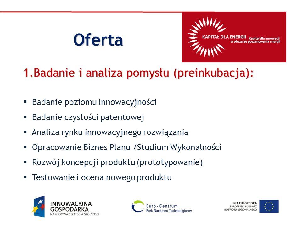 1.Badanie i analiza pomysłu (preinkubacja): Badanie poziomu innowacyjności Badanie czystości patentowej Analiza rynku innowacyjnego rozwiązania Opraco