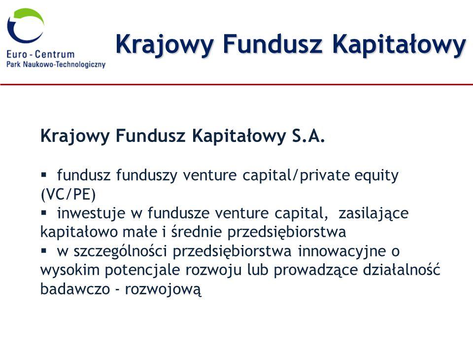 Krajowy Fundusz Kapitałowy Krajowy Fundusz Kapitałowy S.A. fundusz funduszy venture capital/private equity (VC/PE) inwestuje w fundusze venture capita
