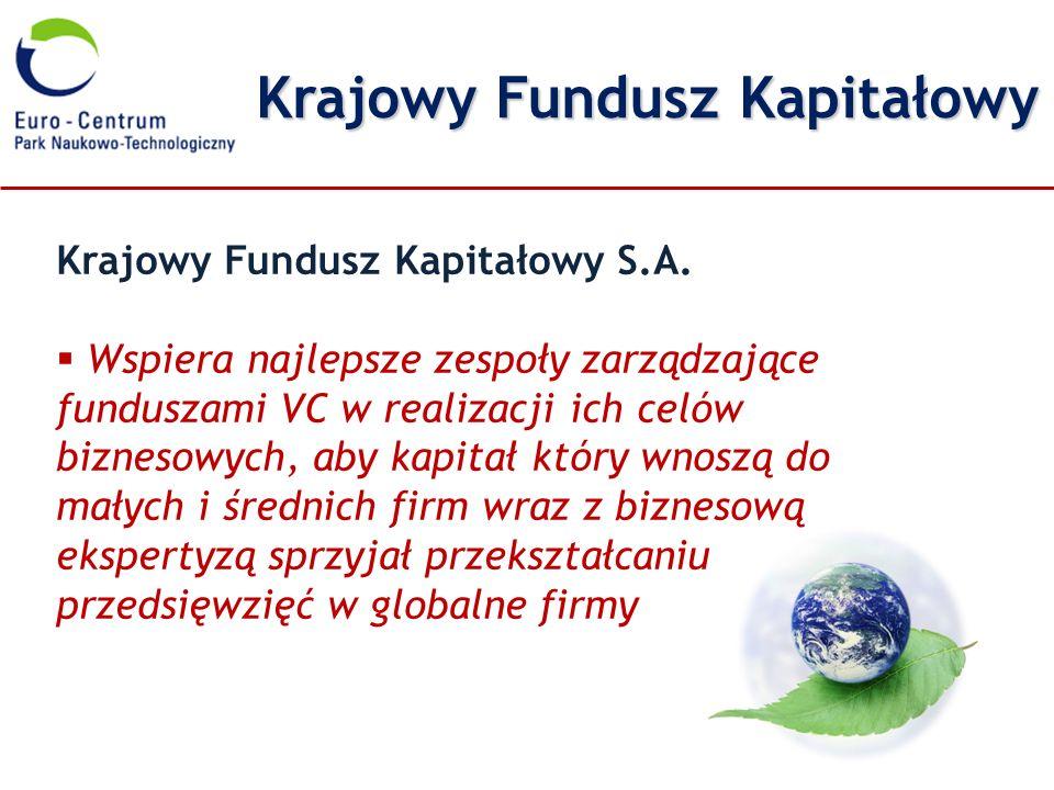 Krajowy Fundusz Kapitałowy Krajowy Fundusz Kapitałowy S.A. Wspiera najlepsze zespoły zarządzające funduszami VC w realizacji ich celów biznesowych, ab