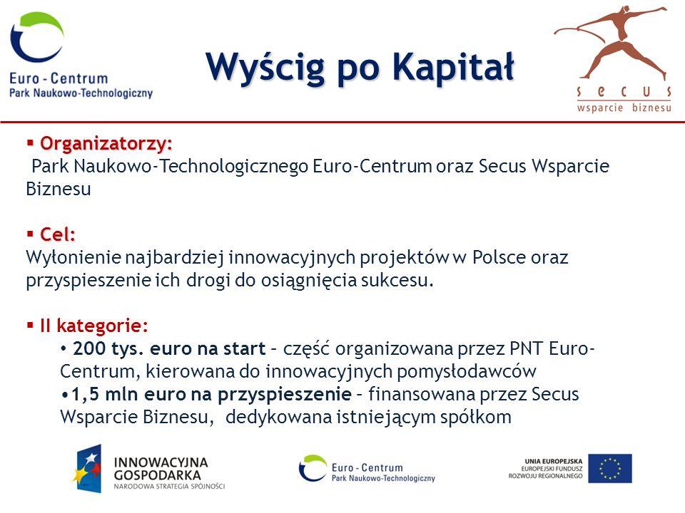 Wyścig po Kapitał Organizatorzy: Organizatorzy: Park Naukowo-Technologicznego Euro-Centrum oraz Secus Wsparcie Biznesu Cel: Wyłonienie najbardziej inn
