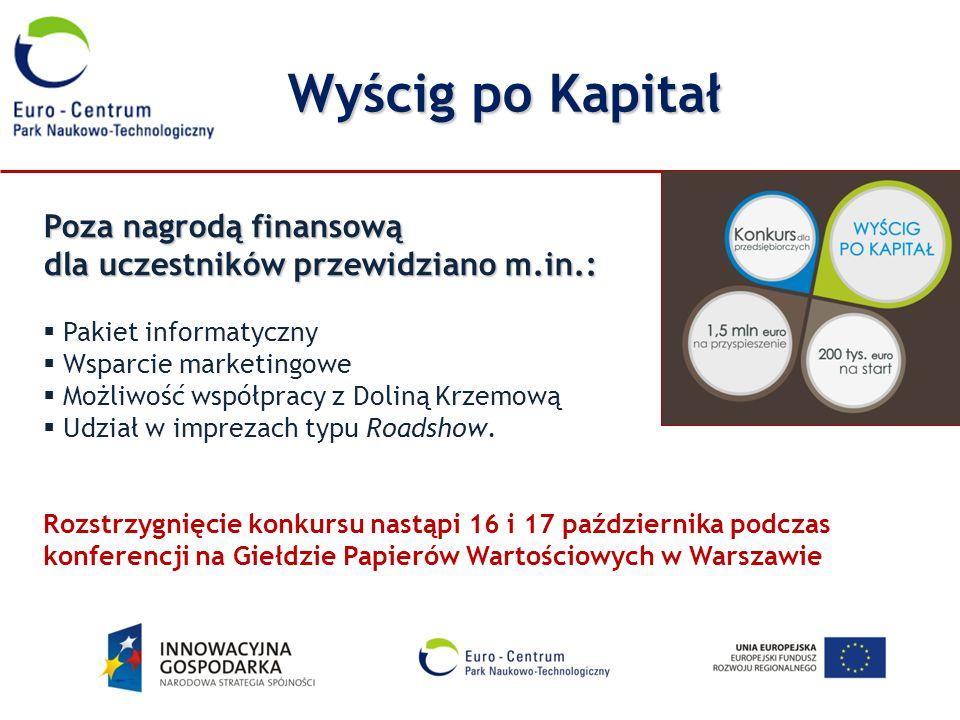 Poza nagrodą finansową dla uczestników przewidziano m.in.: Pakiet informatyczny Wsparcie marketingowe Możliwość współpracy z Doliną Krzemową Udział w
