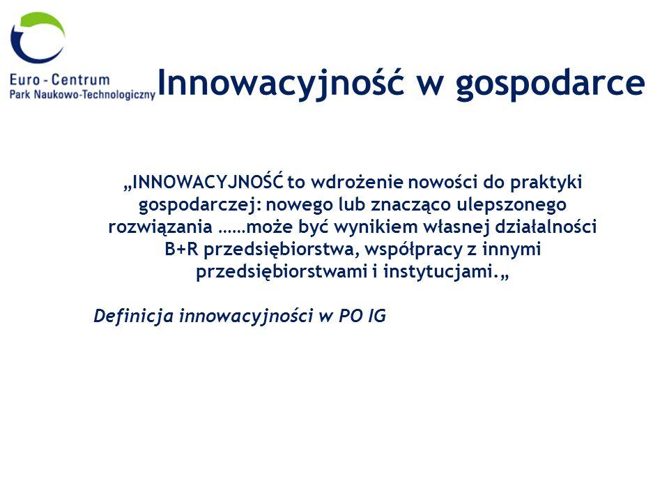 Innowacyjność w gospodarce INNOWACYJNOŚĆ to wdrożenie nowości do praktyki gospodarczej: nowego lub znacząco ulepszonego rozwiązania ……może być wynikie