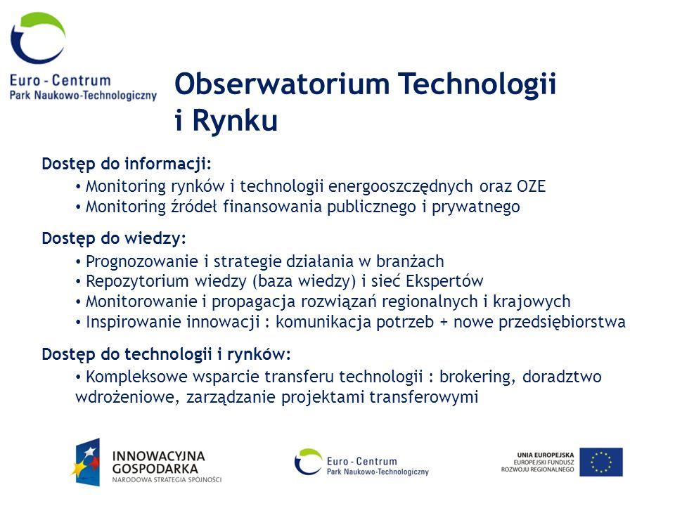 Obserwatorium Technologii i Rynku Dostęp do informacji: Monitoring rynków i technologii energooszczędnych oraz OZE Monitoring źródeł finansowania publ