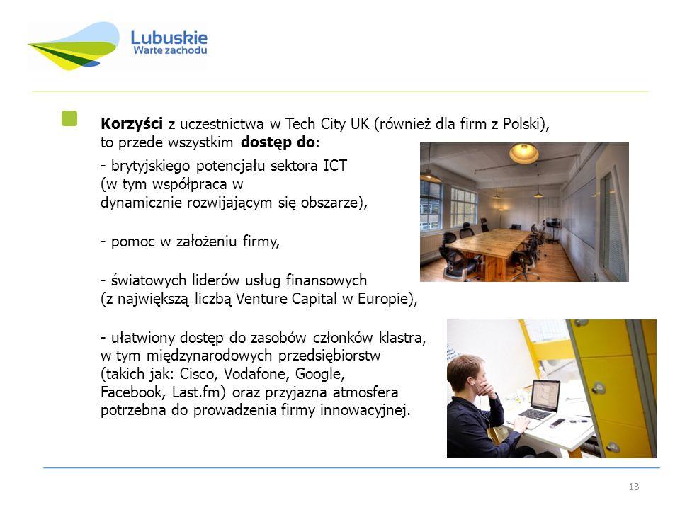 13 Korzyści z uczestnictwa w Tech City UK (również dla firm z Polski), to przede wszystkim dostęp do: - brytyjskiego potencjału sektora ICT (w tym wsp