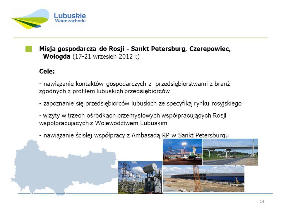14 Misja gospodarcza do Rosji - Sankt Petersburg, Czerepowiec, Wołogda (17-21 wrzesień 2012 r.) Cele: - nawiązanie kontaktów gospodarczych z przedsięb