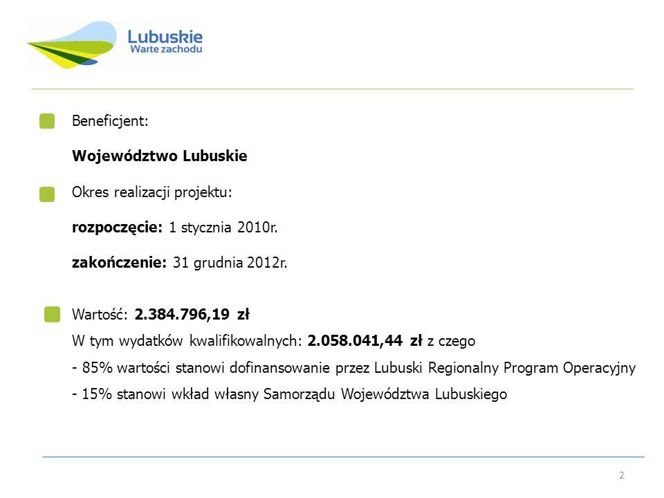 Beneficjent: Województwo Lubuskie Okres realizacji projektu: rozpoczęcie: 1 stycznia 2010r. zakończenie: 31 grudnia 2012r. 2 Wartość: 2.384.796,19 zł