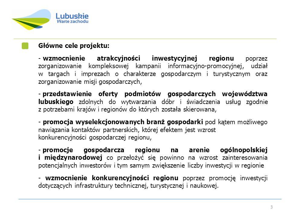 3 Główne cele projektu: - wzmocnienie atrakcyjności inwestycyjnej regionu poprzez zorganizowanie kompleksowej kampanii informacyjno-promocyjnej, udzia