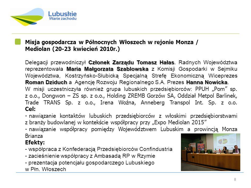 8 Misja gospodarcza w Północnych Włoszech w rejonie Monza / Mediolan (20-23 kwiecień 2010r.) Członek Zarządu Tomasz Hałas Maria Małgorzata Szablowska