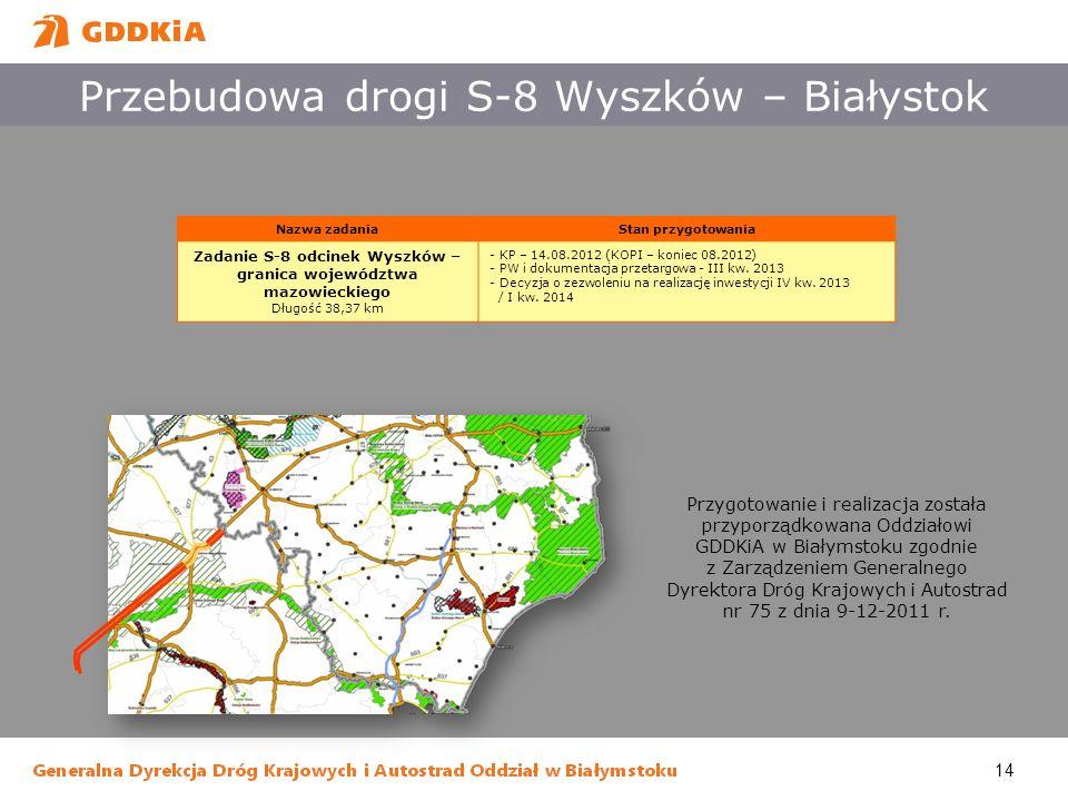 14 Przebudowa drogi S-8 Wyszków – Białystok Przygotowanie i realizacja została przyporządkowana Oddziałowi GDDKiA w Białymstoku zgodnie z Zarządzeniem