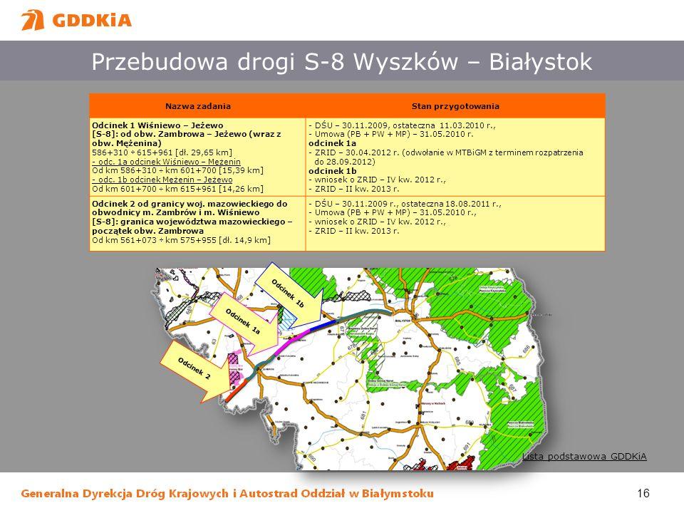 16 Przebudowa drogi S-8 Wyszków – Białystok Nazwa zadaniaStan przygotowania Odcinek 1 Wiśniewo – Jeżewo [S-8]: od obw. Zambrowa – Jeżewo (wraz z obw.