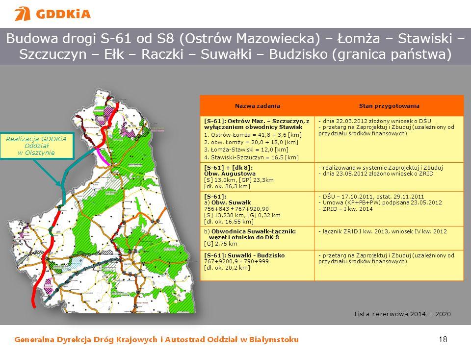 18 Budowa drogi S-61 od S8 (Ostrów Mazowiecka) – Łomża – Stawiski – Szczuczyn – Ełk – Raczki – Suwałki – Budzisko (granica państwa) Nazwa zadaniaStan