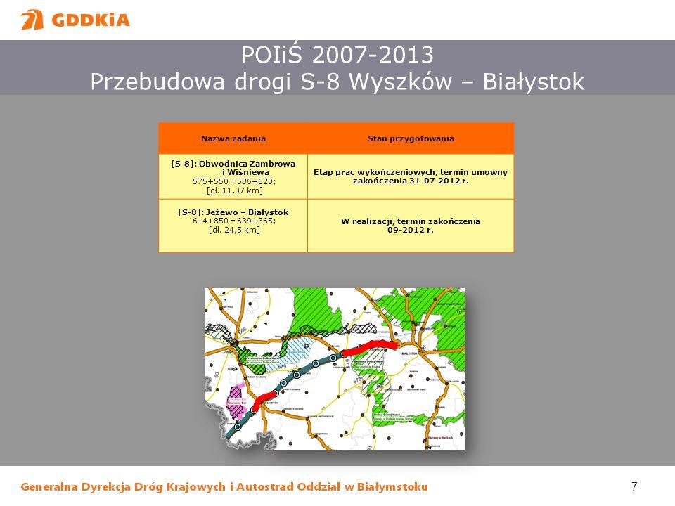7 POIiŚ 2007-2013 Przebudowa drogi S-8 Wyszków – Białystok Nazwa zadaniaStan przygotowania [S-8]: Obwodnica Zambrowa i Wiśniewa 575+550 586+620; [dł.