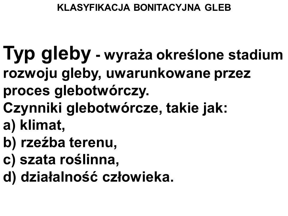 KLASYFIKACJA BONITACYJNA GLEB Polskie Towarzystwo Gleboznawcze wyróżnia następujące jednostki systematyczne gleb: - typ i podtyp gleby, - rodzaj gleby, - gatunek gleby, - klasa bonitacyjna, - kompleks przydatności rolniczej gleby.