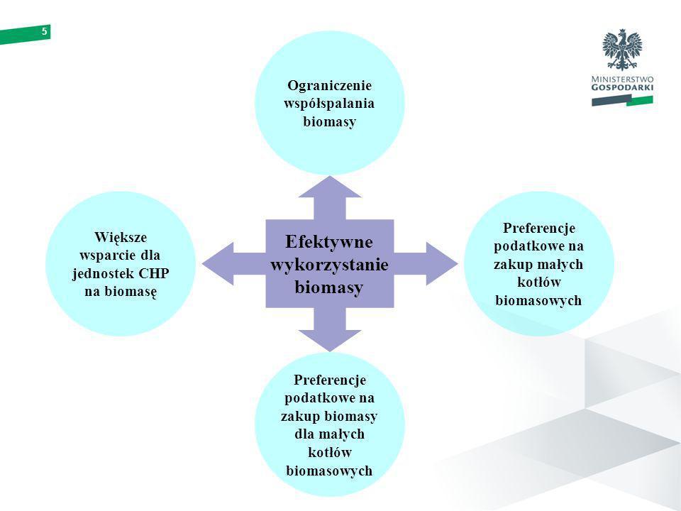 5 Preferencje podatkowe na zakup małych kotłów biomasowych Efektywne wykorzystanie biomasy Ograniczenie współspalania biomasy Preferencje podatkowe na zakup biomasy dla małych kotłów biomasowych Większe wsparcie dla jednostek CHP na biomasę