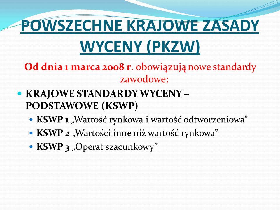 POWSZECHNE KRAJOWE ZASADY WYCENY (PKZW) Od dnia 1 marca 2008 r. obowiązują nowe standardy zawodowe: KRAJOWE STANDARDY WYCENY – PODSTAWOWE (KSWP) KSWP