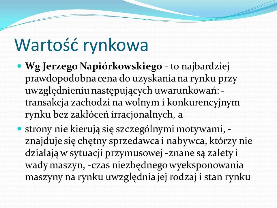 Wartość rynkowa Wg Jerzego Napiórkowskiego - to najbardziej prawdopodobna cena do uzyskania na rynku przy uwzględnieniu następujących uwarunkowań: - t