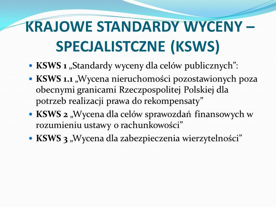 KRAJOWE STANDARDY WYCENY – SPECJALISTCZNE (KSWS) KSWS 1 Standardy wyceny dla celów publicznych: KSWS 1.1 Wycena nieruchomości pozostawionych poza obec
