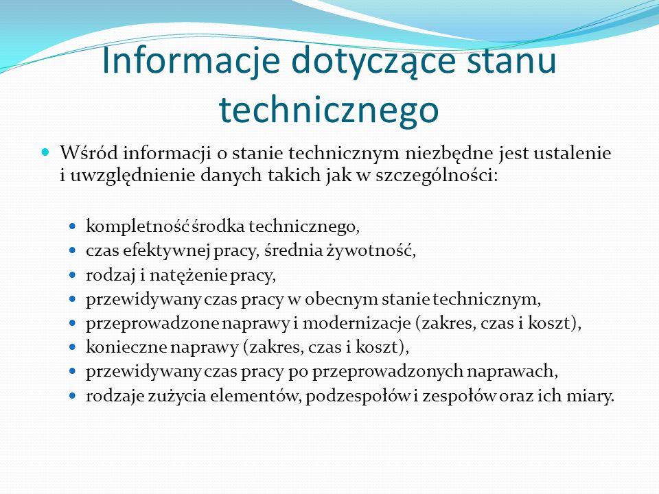 Informacje dotyczące stanu technicznego Wśród informacji o stanie technicznym niezbędne jest ustalenie i uwzględnienie danych takich jak w szczególnoś