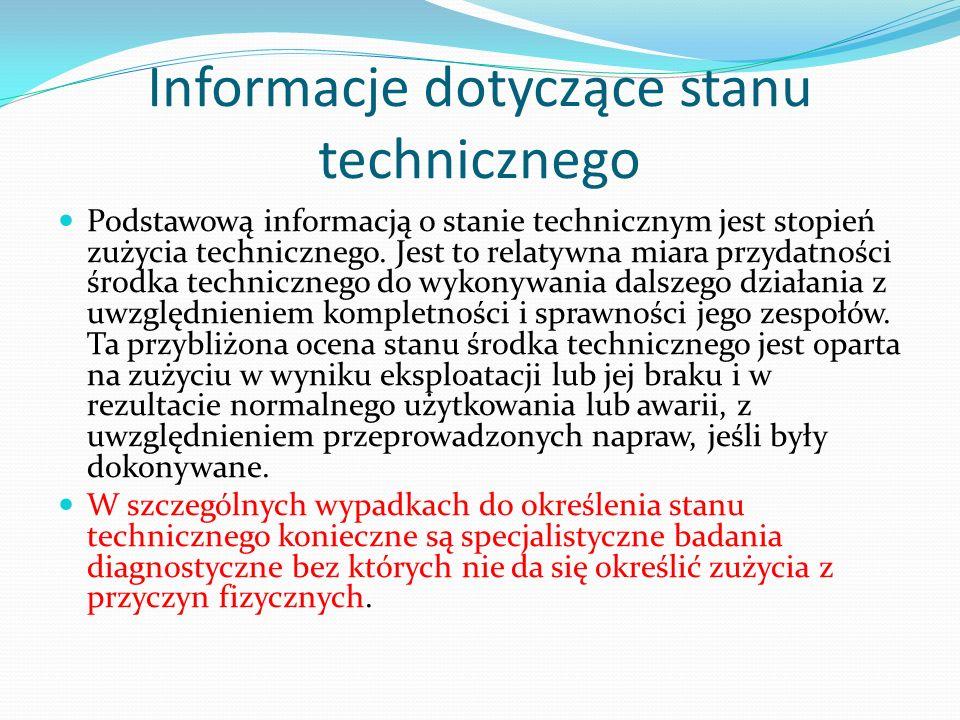 Informacje dotyczące stanu technicznego Podstawową informacją o stanie technicznym jest stopień zużycia technicznego. Jest to relatywna miara przydatn