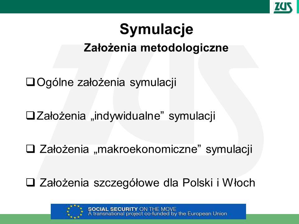 Symulacje Założenia metodologiczne Ogólne założenia symulacji Założenia indywidualne symulacji Założenia makroekonomiczne symulacji Założenia szczegół