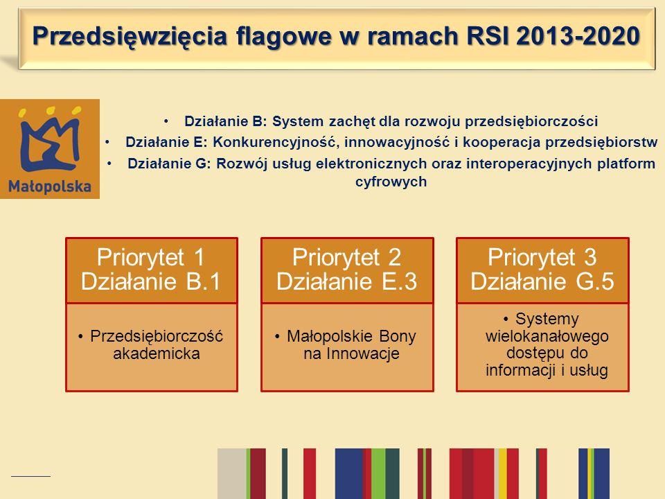 Przedsięwzięcia flagowe w ramach RSI 2013-2020 Działanie B: System zachęt dla rozwoju przedsiębiorczości Działanie E: Konkurencyjność, innowacyjność i