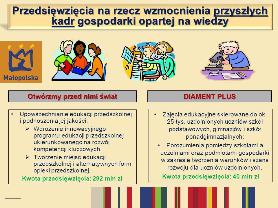 Przedsięwzięcia na rzecz wzmocnienia przyszłych kadr gospodarki opartej na wiedzy Otwórzmy przed nimi świat Upowszechnianie edukacji przedszkolnej i p