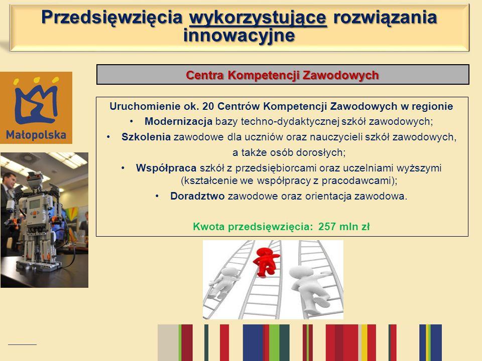 Centra Kompetencji Zawodowych Uruchomienie ok. 20 Centrów Kompetencji Zawodowych w regionie Modernizacja bazy techno-dydaktycznej szkół zawodowych; Sz