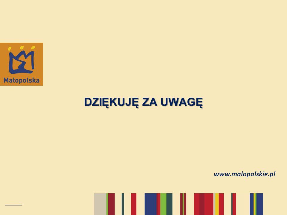 DZIĘKUJĘ ZA UWAGĘ www.malopolskie.pl