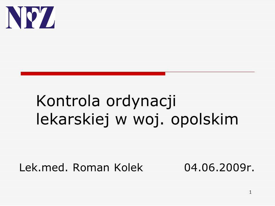1 Kontrola ordynacji lekarskiej w woj. opolskim Lek.med. Roman Kolek04.06.2009r.