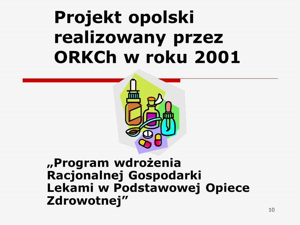 10 Projekt opolski realizowany przez ORKCh w roku 2001 Program wdrożenia Racjonalnej Gospodarki Lekami w Podstawowej Opiece Zdrowotnej