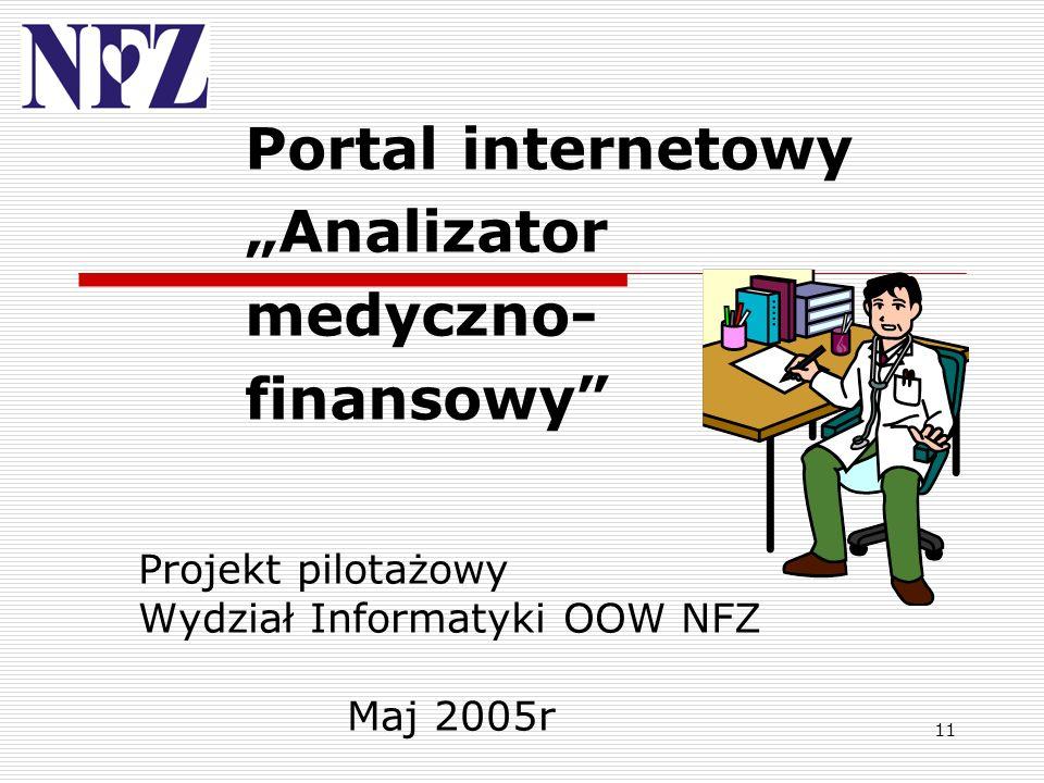 11 Portal internetowy Analizator medyczno- finansowy Projekt pilotażowy Wydział Informatyki OOW NFZ Maj 2005r