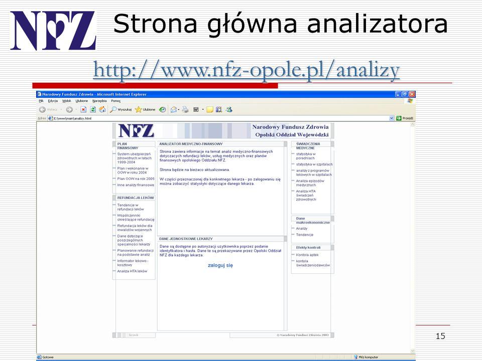 15 Strona główna analizatora http://www.nfz-opole.pl/analizy