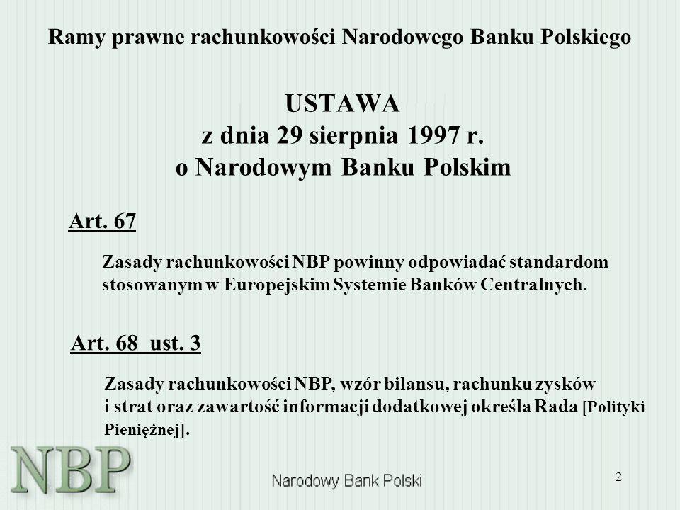 2 Ramy prawne rachunkowości Narodowego Banku Polskiego USTAWA z dnia 29 sierpnia 1997 r. o Narodowym Banku Polskim Art. 68 ust. 3 Zasady rachunkowości