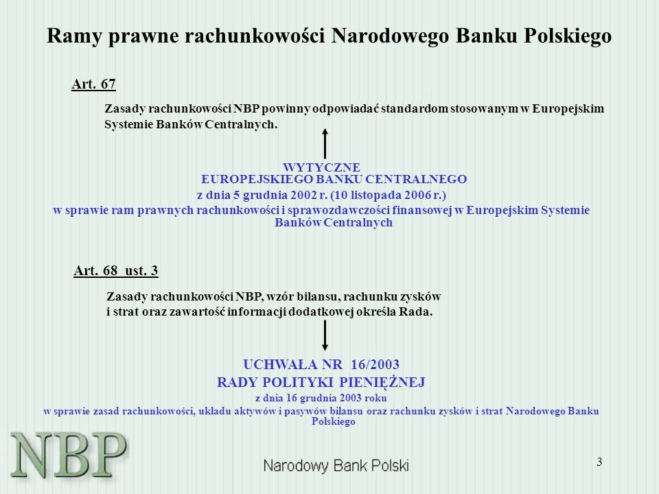 4 Podstawowe założenia rachunkowości NBP Rzeczywistość gospodarcza i przejrzystość Zasada ostrożności: Asymetryczne ujmowanie efektów wyceny kursowej / cenowej Zakaz nettowania efektów wyceny kursowej / cenowej między zasobami papierów wartościowych / walut obcych