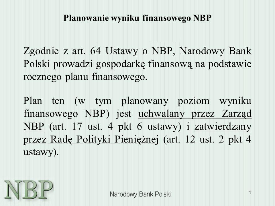 7 Planowanie wyniku finansowego NBP Zgodnie z art. 64 Ustawy o NBP, Narodowy Bank Polski prowadzi gospodarkę finansową na podstawie rocznego planu fin