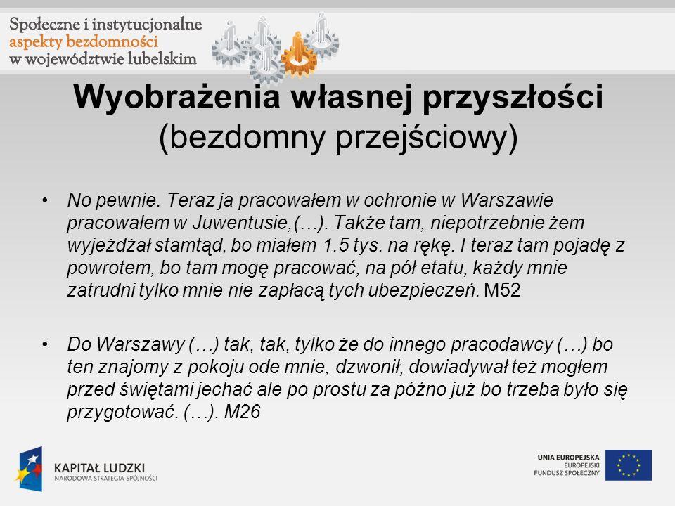 Wyobrażenia własnej przyszłości (bezdomny przejściowy) No pewnie. Teraz ja pracowałem w ochronie w Warszawie pracowałem w Juwentusie,(…). Także tam, n