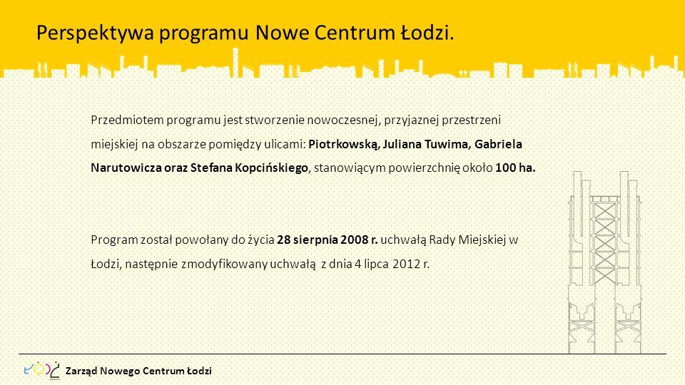 Zarząd Nowego Centrum Łodzi Przedmiotem programu jest stworzenie nowoczesnej, przyjaznej przestrzeni miejskiej na obszarze pomiędzy ulicami: Piotrkows