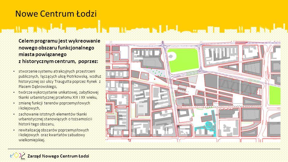 Zarząd Nowego Centrum Łodzi Nowe Centrum Łodzi stworzenie systemu atrakcyjnych przestrzeni publicznych, łączących ulicę Piotrkowską, wzdłuż historyczn