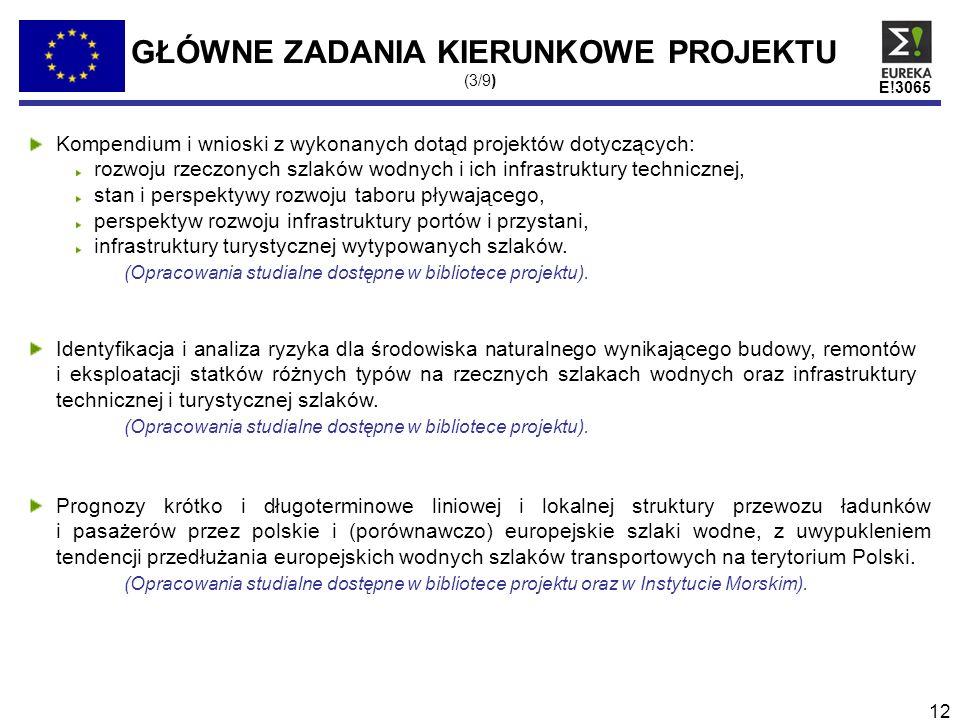 E!3065 12 GŁÓWNE ZADANIA KIERUNKOWE PROJEKTU (3/9) Kompendium i wnioski z wykonanych dotąd projektów dotyczących: rozwoju rzeczonych szlaków wodnych i