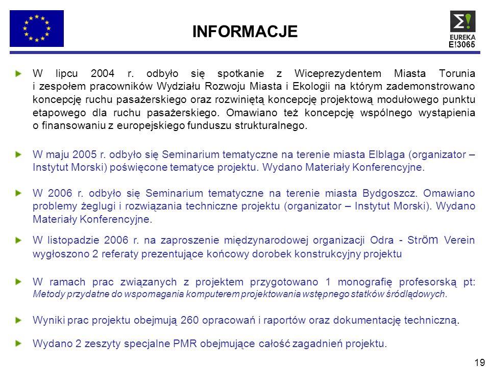 E!3065 19 INFORMACJE W lipcu 2004 r. odbyło się spotkanie z Wiceprezydentem Miasta Torunia i zespołem pracowników Wydziału Rozwoju Miasta i Ekologii n