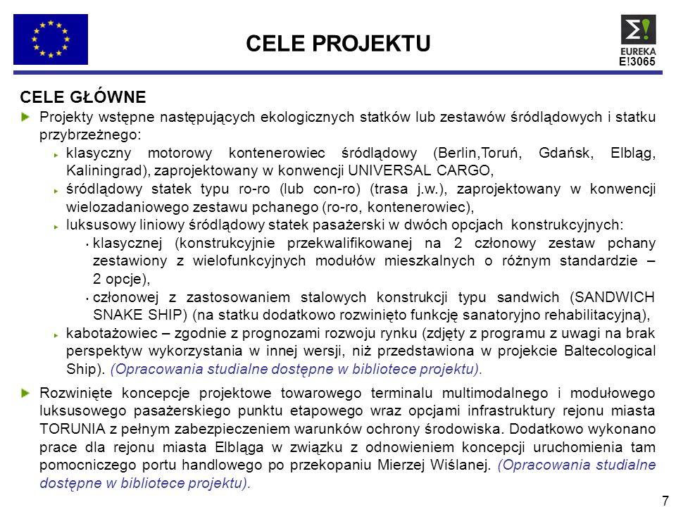 E!3065 8 CELE PROJEKTU CELE POŚREDNIE (1/2) Analiza i ocena wraz z prognozą rozwojową dotyczącą uwarunkowań ekonomiczno organizacyjnych rewitalizacji transportu masy towarowej i pasażerów polskimi śródlądowymi szlakami wodnymi w relacji WSCHÓD-ZACHÓD-WSCHÓD (W-Z-W).
