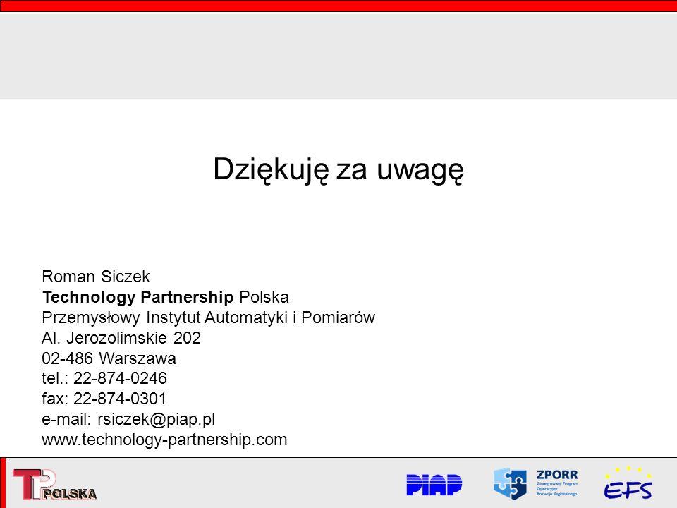 Dziękuję za uwagę Roman Siczek Technology Partnership Polska Przemysłowy Instytut Automatyki i Pomiarów Al. Jerozolimskie 202 02-486 Warszawa tel.: 22